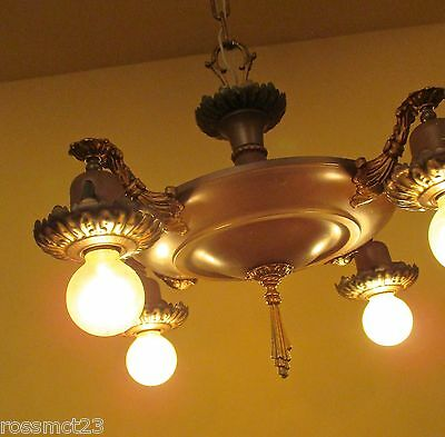 Vintage Lighting antique 1920s pan chandelier with original finish
