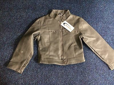 Grey Leather Style Jacket Girls 6/7 Years