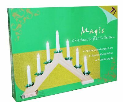 Christmas Pine Wooden Candle Bridge Arch Window Lights Decoration