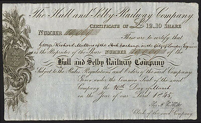 Hull and Selby Railway Co., £12 10 shilling share, 1845