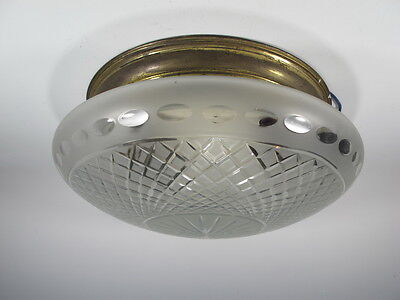 Antique French Brass Ceiling Light with Glass Shade - 10873