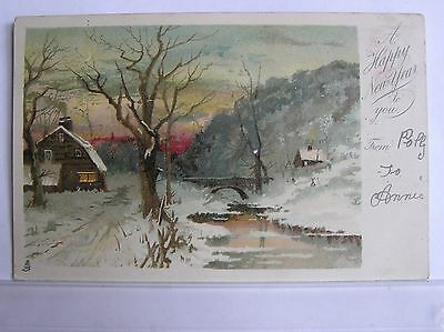 Artist Postcard - Snowy Scene With Cottage & River - Undivided Back - 1903