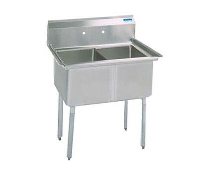 """Bk Resources Two 18""""x18""""x12"""" Compartment Sink W/ S/s Legs - Bks-2-18-12S"""