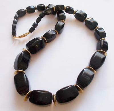 Vintage 80's Signed Napier Black Chunky Lucite Beads Gold Tone Beaded Necklace