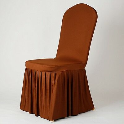 Newly Chair Cover Pleated Edge Stretchy Seat Protector Wedding Party Slipcover
