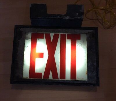 Vintage Light Up Exit Sign, Aluminum With Glass Panels 2 Sides
