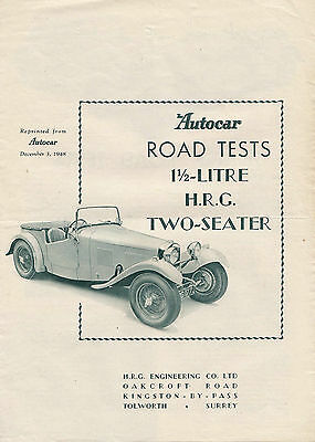 1.1/2 litre H.R.G. TWO SEATER OFFICIAL PERIOD REPRINTED ROAD TEST FROM AUTOCAR