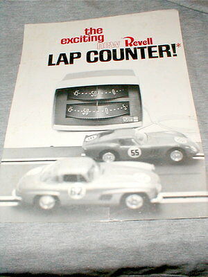 1966 Revell 2 Lane Lap Counter Advertising two sided Flyer slot car Vintage NOS