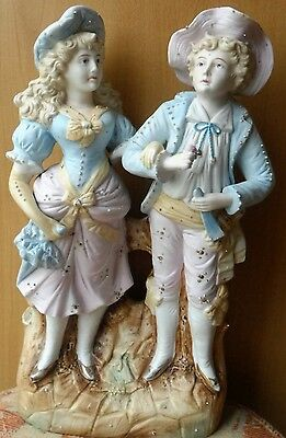 Superb Large Bisque Centre Piece of Figure Group A Boy & Girl - FREE POST UK