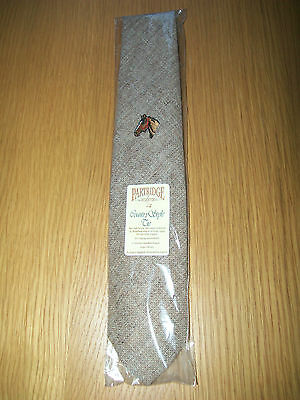 New With Tag Men,s Fawn Wool Tweed Tie With Horse Design