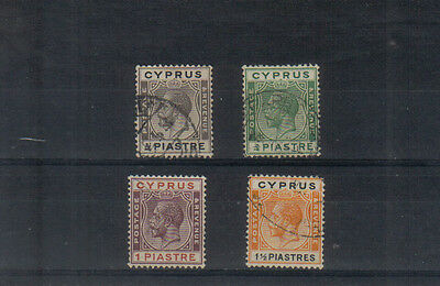 Cyprus George V 1924-28 Four values to 1 1/2pi used