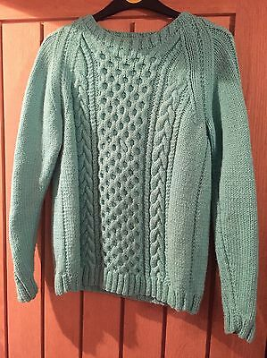 Vintage Knitted Wool Turquoise Jumper Top Size 8/10 Arran