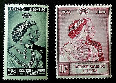 British Solomon Is. 1949 KGVI Silver Wedding Commemorative Pair SG 270-271 VLMM