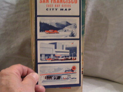 1950's San Francisco East Bay Cities Map Union 76 Oil