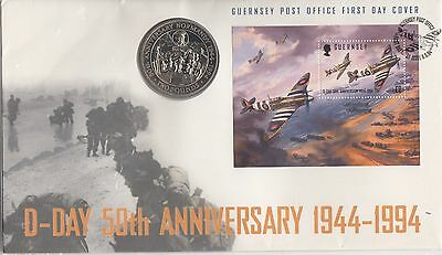 Guernsey Post Office, D-Day Landings, First Day £2 Pound Coin & Stamp Cover,