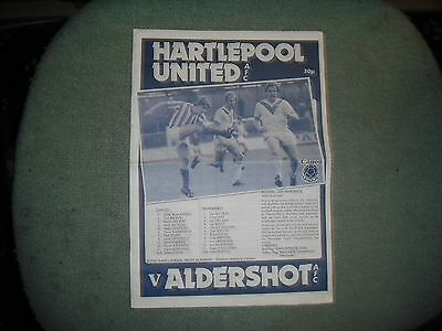 Hartlepool United  V  Aldershot  (Newspaper Style Issue)  3-9-83  Low Print Run