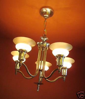 Vintage Lighting antique 1930s Virden Moderne chandelier   Dashing