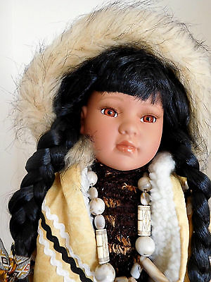 """Traditions 24"""" Anana Porcelain Inuit Native American Eskimo Girl w/Box & Stand"""