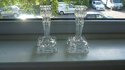 Pair of Art Deco Clear Candlesticks - Christmas Use