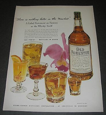 Print Ad DISTILLERY 1949 Old Forester Kentucky Straight Bourbon Whisky w orchid.