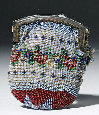 ARTEMIS GALLERY 19th C. Mexican Glass Beaded Coin Purse, ex-Historia