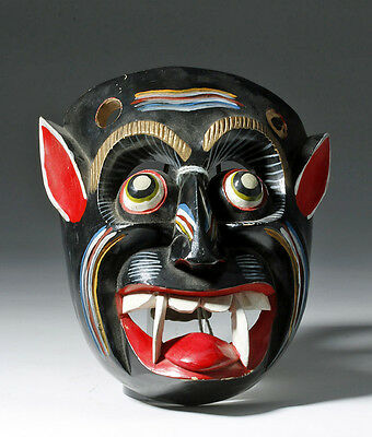 ARTEMIS GALLERY Mexican Diablo Painted Wood Mask, Juan Horta Castillo