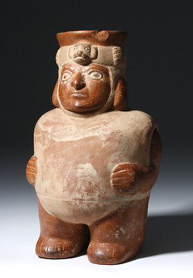 ARTEMIS GALLERY Moche Figural Pottery Jar in Human Form