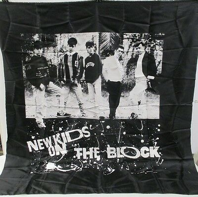"""Vintage 1989 New Kids On The Block Giant Black And White Tapestry 46"""" X 43"""""""