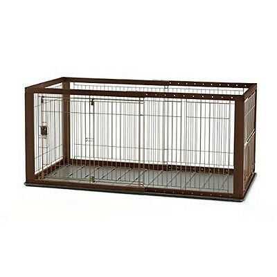 Richell 94921 EXPANDABLE PET CRATE MEDIUM WITH FLOOR TRAY (BROWN/BLACK) -