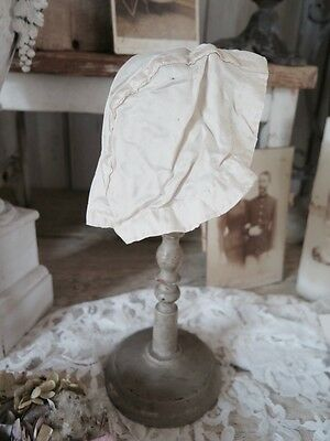 FRANKREICH Baby/Puppen Haube SEIDE creme Taufe french SHABBY