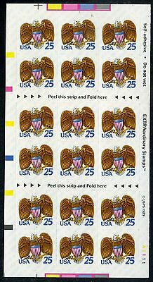 Scott #2431a 25c Eagle & Shield Self-Adh. Booklet Pane of 18 w/Pl# at L.R.