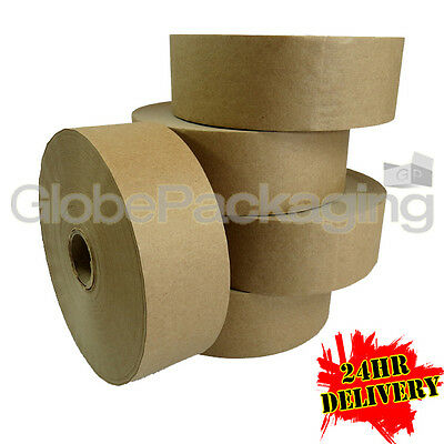 6 x ROLLS OF PLAIN STRONG GUMMED PAPER WATER ACTIVATED TAPE 48mm x 200M, 60GSM