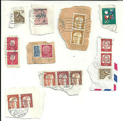 Germany 16 used stamps mostly on paper (1443)