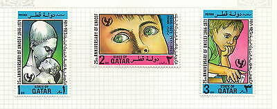Qatar 3 stamps 25th anniversary of UNICEF mh 1971 1d 2d 3d (bk5)