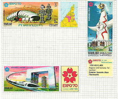 Sharjah 3 stamps Expo 1970 mh 2 x 3d + 1d all with margins (bk5)