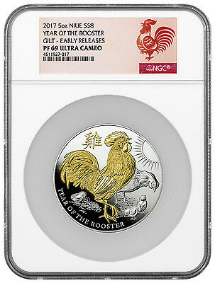 2017-P Niue $8 5 oz. High Relief Gilt PF Silver Rooster NGC PF69 UC ER SKU43532