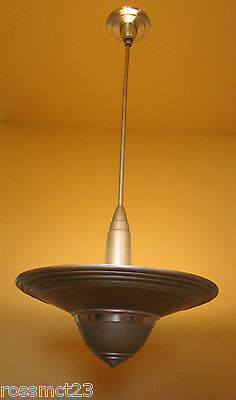 Vintage Lighting antique 1930s Art Deco aluminum pendant ceiling light