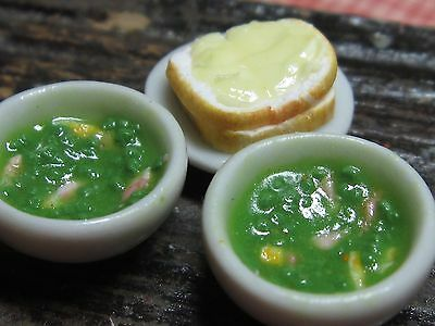 12th scale dollhouse dolls house food~Pea and ham soup ~ by redclegg