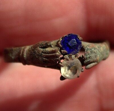 Ancient Old Medieval Bronze & Gemstones Artifact Hands Clasping LOVE Ring