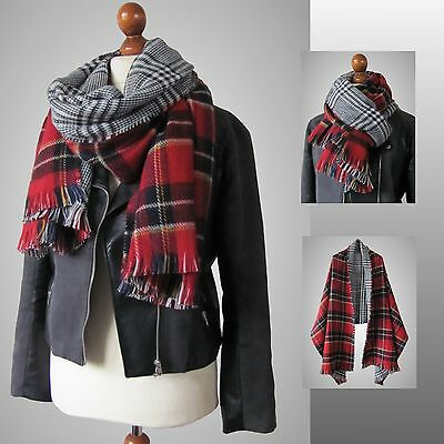 Blogger Schal Kariert Tartan Checked Scarf Plaid Karoschal XXL Edel 03 rot weiss