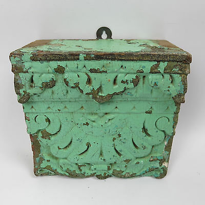 Antique 19th C. Indian Wall Panel Decorative Carved Lintel Section in Turquoise