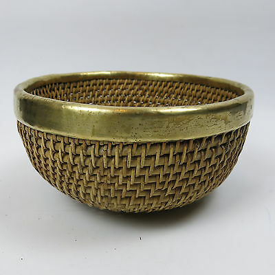Unusual Vintage Brass & Wicker Bowl Basket for Fruits Sweets etc.