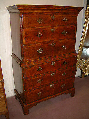 Small George I period Burr Walnut Chest on chest dating from c 1720.