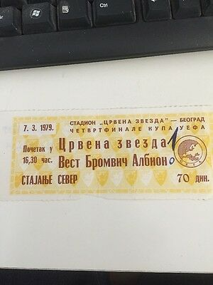 Red Star Belgrade V West Bromwich Albion  Uefa Cup Ticket 7/3/1979