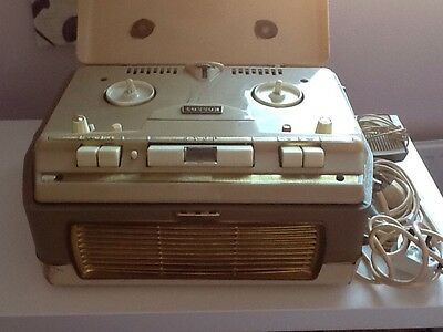 Vintage Cossor Valve Reel To Reel Tape Recorder WIth Case & Microphone