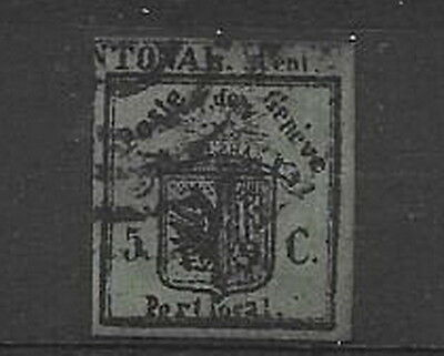 "Switzerland. Geneva. 1843. 5c. ""Half"". Used. Sold ""as is""."
