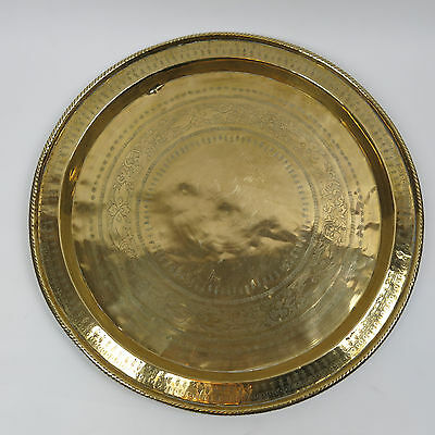 "16.5"" Large Vintage Brass Serving Plate Plaque Charger Tray Wall Hanging"