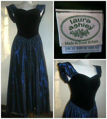 Beautiful Vintage Laura Ashley Evening Party Ball Gown Velvet Corset Dress Uk 10