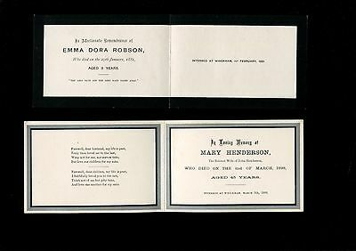 2  In Memoriam Cards 1881/98 Whickham Durham Emma Robson aged 3 & Mary Henderson