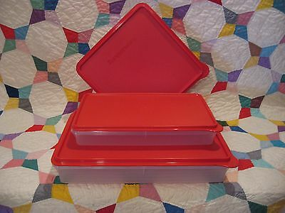 TUPPERWARE Cold Cut Large~Jr Bacon +Square Snack Stor Keeper RED Deli Huge 3 Lot